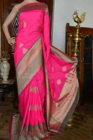 "Pretty FashionablesareePink Color Soft Silk Designer Sarees - cnd915  30"""