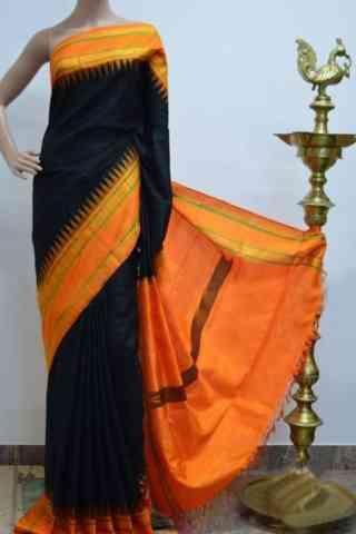 "Glammrous Black And OrangeColor Soft Silk Designer Sarees - cnd928  30"""