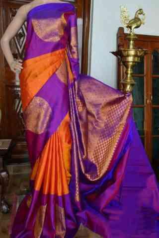 "Flawless Orange And Purple Color Soft Silk Designer Sarees - cnd943  30"""