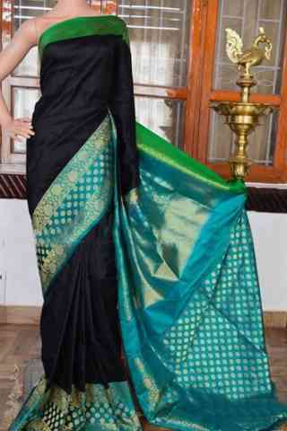 Flawless Black Color Soft Silk Designer Sarees - cnd948  30""