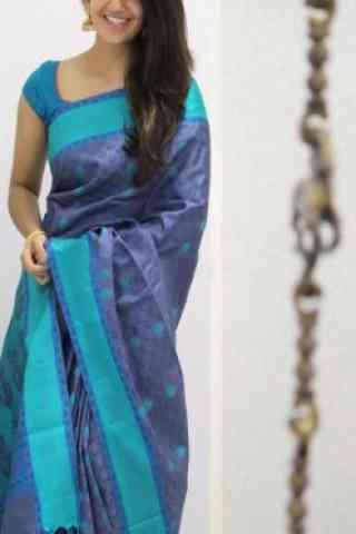 "Unique Blue Color Soft Silk Designer Sarees - cnd983  30"""
